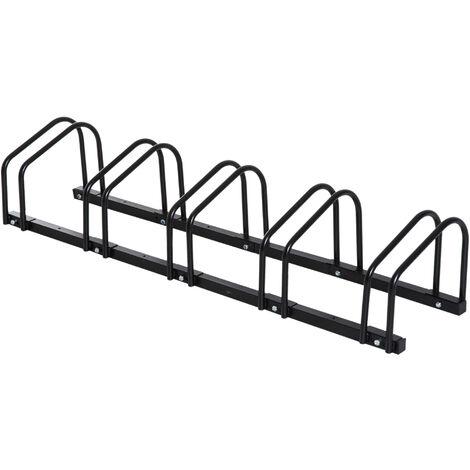 HOMCOM Bike Stand Parking Rack Floor or Wall Mount Bicycle Cycle Storage Locking Stand - 5 Racks, Black