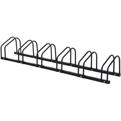 HOMCOM Bike Stand Parking Rack Floor or Wall Mount Bicycle Cycle Storage Locking Stand - 6 Racks, Black