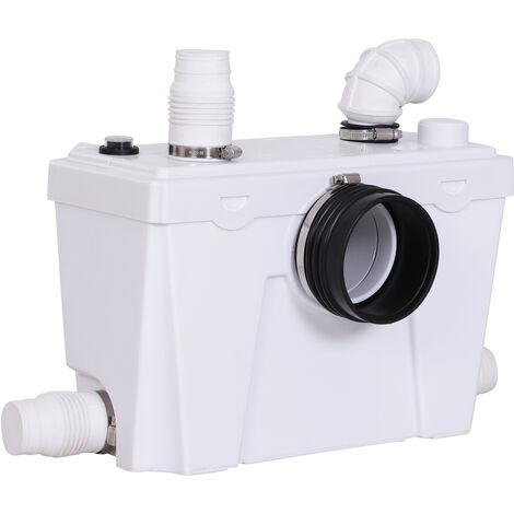HOMCOM Bomba Triturador Sanitario de 500W 4 Entradas para Baño y Cocina 45x21.5x29cm