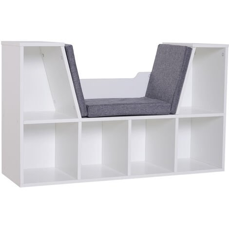 HOMCOM Bookcase Reading Seat Storage Unit Six Cubes Home Bedroom White