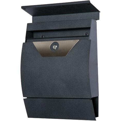 HOMCOM® Briefkasten Wandbriefkasten mit Zeitungsfach abschließbar 2 Schlüssel Stahl