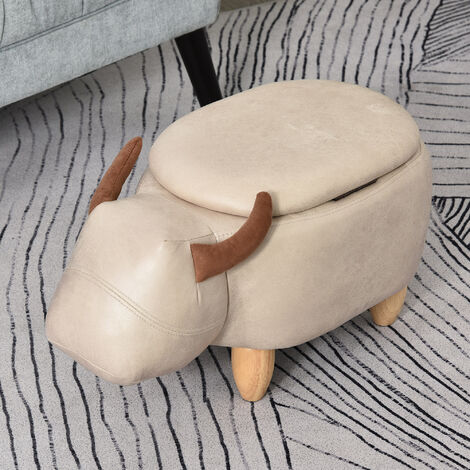 HOMCOM Buffalo Storage Stool Cute Kids Decoration Footrest Wood Frame Ivory
