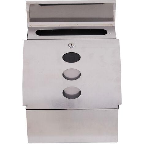 HOMCOM Buzón Correo Caja de Correo de Pared Mail Box Exterior con Cierra 2 Llave Acero