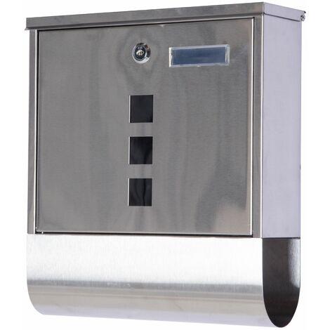 HOMCOM Buzón Exterior de Acero Inoxidable para Cartas Correo Postal Montaje en Pared - Plateado
