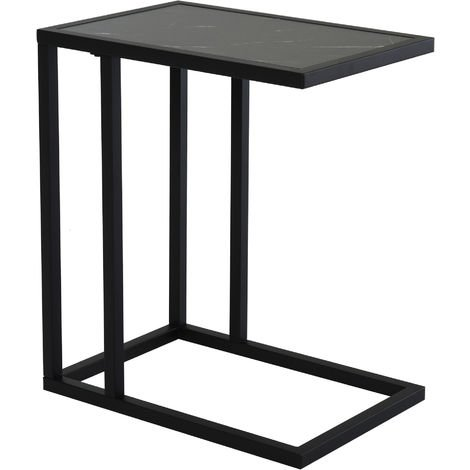 HOMCOM C-Shape Marble-Look Side Table w/ Metal Frame Home Furniture Black