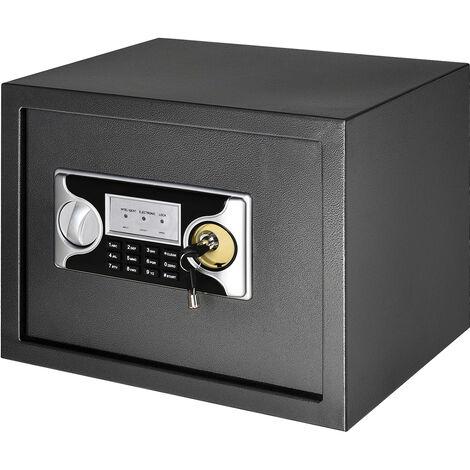 """main image of """"HOMCOM Caja Fuerte de Seguridad 27L con Cerradura Electrónica y 2 Llaves 2 Códigos Montado en la Pared Acero 38x30x30 cm Negro - Black, Silver"""""""