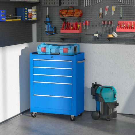 HomCom Carrello Cassettiera Porta Utensili per officina, azzurro, 61.5x33x85cm