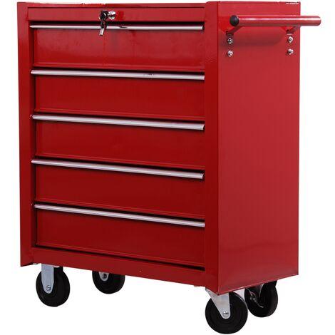 """main image of """"HomCom Carrello Cassettiera Porta Utensili per officina, rosso, 67.5x33x77cm"""""""