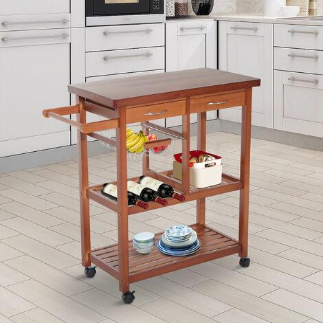 HomCom Carrello da cucina in legno con ruote, legno ...