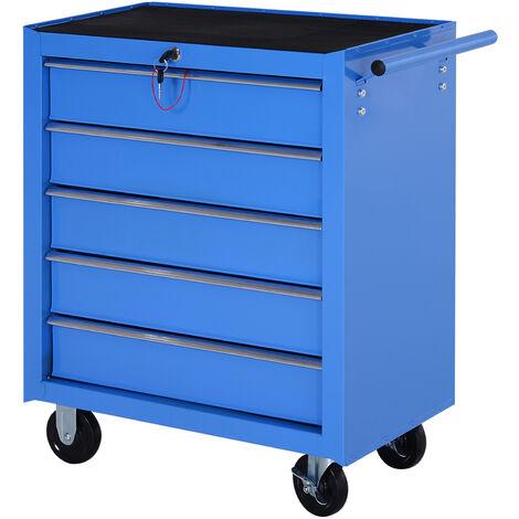 HOMCOM Carro Caja de Herramientas Taller Movil 5 Cajones Chapa de Acero 4 Ruedas Azul