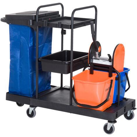 """main image of """"HOMCOM Carro de Limpieza Profesional de 3 Estantes con Escurridor de Palanca y 2 Cubos de Fregar Bolsa Ruedas 111x63,3x103 cm Negro Azul y Naranja - Negro, Azul, Naranja"""""""