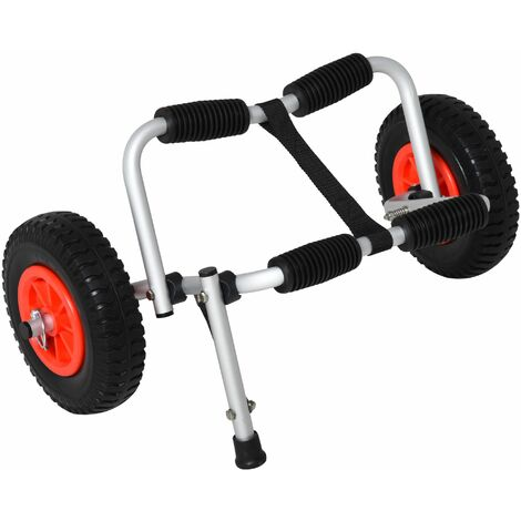 HOMCOM Carro de Transporte Plegable para Kayak 75 kg Aluminio Canoa 57,5x33x24 cm Plata - Plata