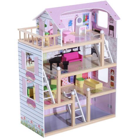 HOMCOM Casa de Muñecas con Muebles Mobiliario Casita Muñeca Juguetes Madera Color Rosa