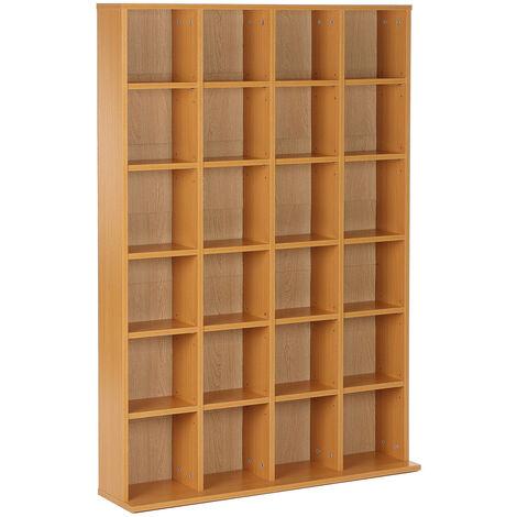 Homcom CD/DVD Storage Shelf Rack Unit Shelves Wooden Bookcase Display Adjustable - Beech