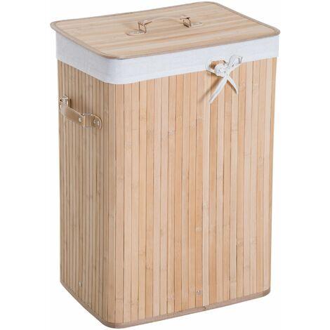 HOMCOM Cesto para Ropa Sucia Plegable con Tapa Cubo para Colada Rectangular Bambú 70L