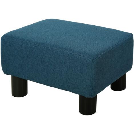 HOMCOM Chic Linen Fabric Footstool Ottoman Cube w/ 4 Plastic Legs Blue