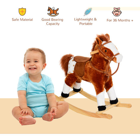 HOMCOM Children Child Kids Plush Rocking Horse with Sound Handle Grip Traditional Toy Fun Gift - Brown