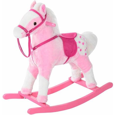 HOMCOM Children Child Kids Plush Rocking Horse with Sound Handle Grip Traditional Toy Fun Gift - Pink