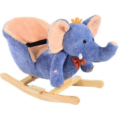 HOMCOM Children Kids Rocking Horse Toys Plush Elephant Rocker Seat Toddler - Blue