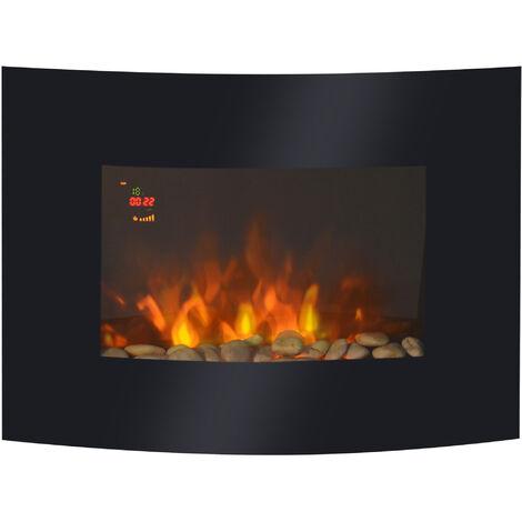 "main image of ""HOMCOM Chimenea Eléctrica de Pared Calefactor Estufa Eléctrica 900/1800W 65x11.4x52cm - Negro"""
