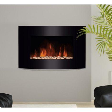 HOMCOM Chimenea Eléctrica de Pared Estufa Eléctrica Calentador 900/1800W Mando 7 Color
