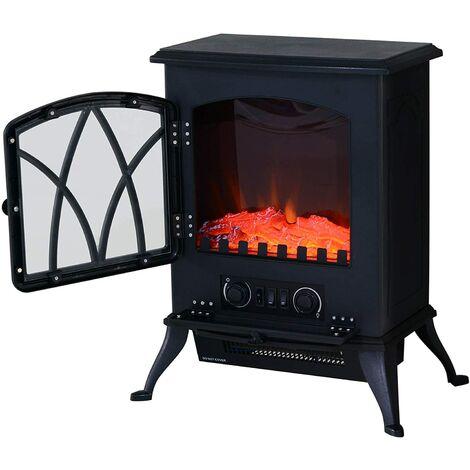 HOMCOM Chimenea Eléctrica Móvil tipo Estufa de Pie con Efecto de Leña Ardiendo Calefactor 1000W/2000W 45x28.5x54cm Color Negro