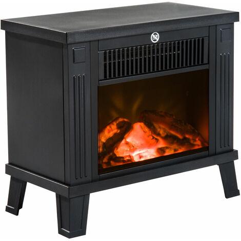 HOMCOM Chimenea Eléctrica tipo Estufa Calefactor de Leña 600W/1200W 38.5x22x30.5cm Negro
