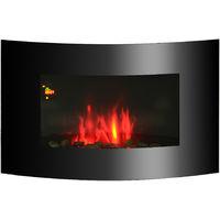 HOMCOM Chimenea Eléctrica tipo Estufa de Pared con Efecto Llamas Mando a Distancia y Luz LED de 7 Colores 1000W/2000W 88.5x13.5x56cm