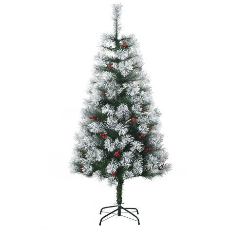 Homcom Christmas Tree Artificial Berry Xmas Decoration with Metal Stand
