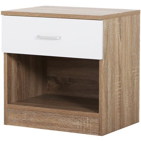 HOMCOM Classic Bedside Drawer Table Bedroom Storage w/ Drawer Oak Colour