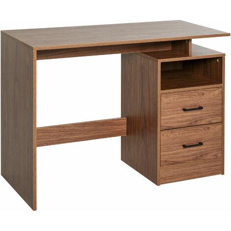 HOMCOM Classic & Compact Table Desk w/ Shelf Drawers Writing Work Table Stylish Brown