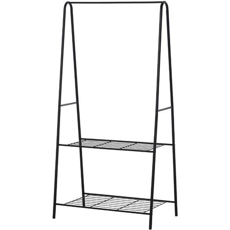 HOMCOM Clothes Rack Coat Garment Hanger Rail 2-tier Shoe Shelving 77L x 45W x 160H cm Black