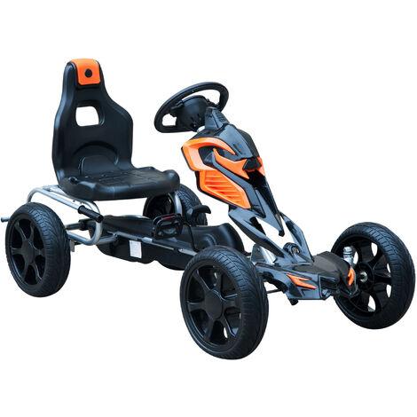 HOMCOM Coche de Pedales Go Kart Racing Deportivo para Niños 5-12 Años Asiento Ajustable