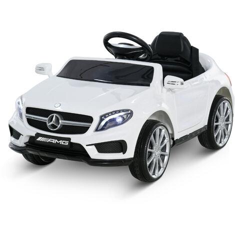 HOMCOM Coche Eléctrico Benz GLA Batería 6V Automóvil Infantil Niño +3 Años MP3+Mando - Blanco