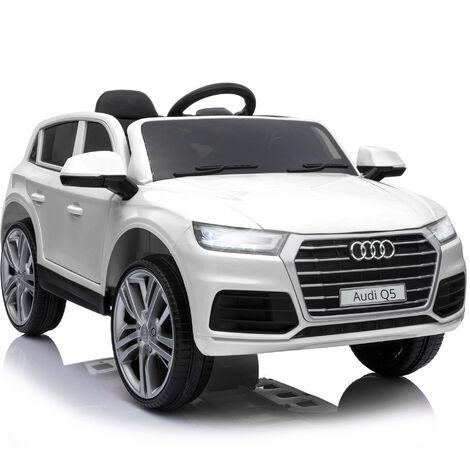 HOMCOM Coche Eléctrico para Niño +3 Años Audi Q5 Batería 12V Control Remoto Carga 30kg - Blanco