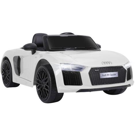 HOMCOM Coche Eléctrico para Niño mayores de 3 años Audi R8 Batería 12V Control Remoto - Blanco