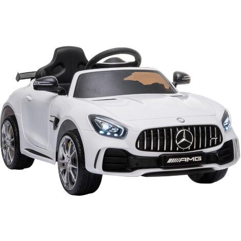 HOMCOM Coche Eléctrico para Niños con Licencia Mercedes GTR +3 Años Batería 12V Blanco - Blanco