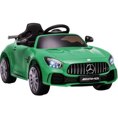 HOMCOM Coche Eléctrico para Niños con Licencia Mercedes GTR +3 Años Batería 12V Verde - Verde