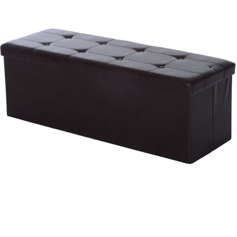 Admirable Homcom Collapsible Rectangular Faux Leather Storage Ottoman Ncnpc Chair Design For Home Ncnpcorg