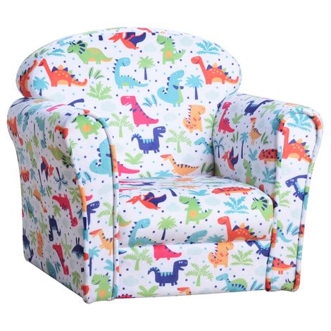 HOMCOM Colourful Dinosaur Children's Kids Armchair Flannel Chair Seat Cartoon