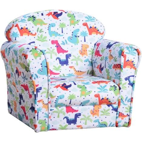 "main image of ""HOMCOM Colourful Dinosaur Children's Kids Armchair Flannel Chair Seat Cartoon"""