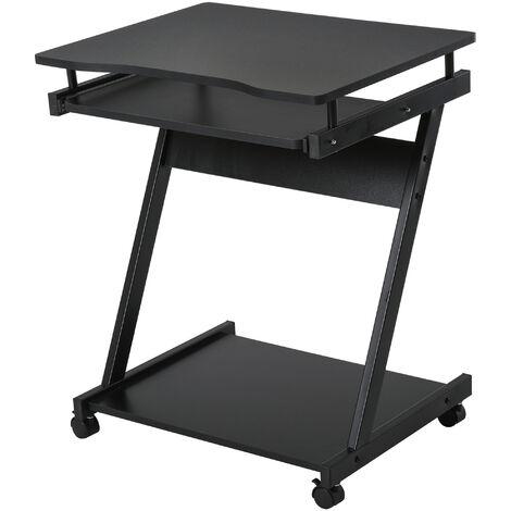 HOMCOM Compact & Minimal Computer Desk w/ Wheels Keyboard Tray Office Black
