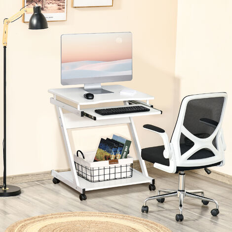 HOMCOM Compact & Minimal Computer Desk w/ Wheels Keyboard Tray Office White