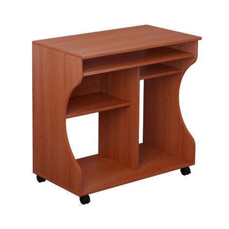 HOMCOM Computer Desk PC Laptop Writing Table Storage Shelf Workstation - Cherry Wood