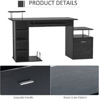 HOMCOM Computer Desk PC Workstation with Drawer Shelves CPU Storage Rack Home Office Furniture (BLACK)