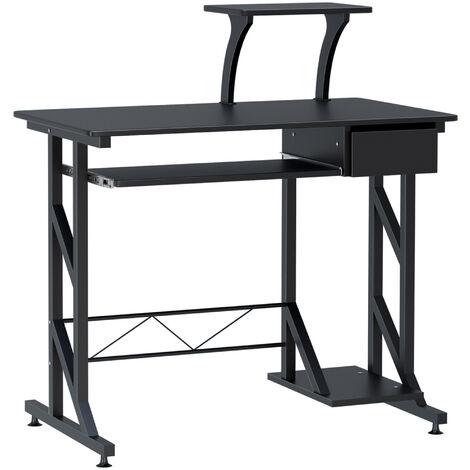 HOMCOM Computer Desk Quality Office Home PC Shelf Tray Wood Station