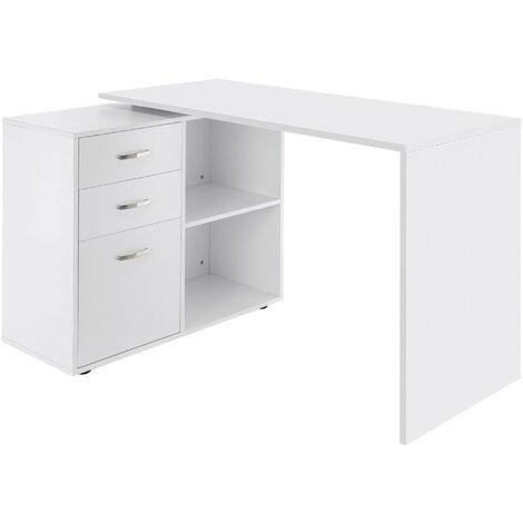 Homcom Computer Desk Table Workstation Home Office L-Shape Drawer File Cabinet - White