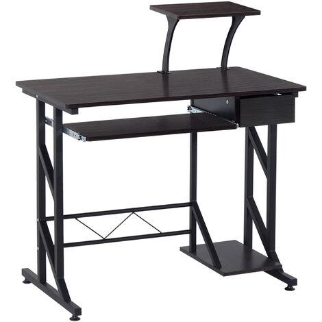 HOMCOM Computer Desk with Sliding Keyboard Tray Drawer and Host Box Shelf Home Office Workstation (Walnut)