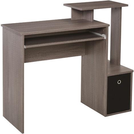 HOMCOM Computer Desk with Sliding Keyboard Tray Storage Drawer Shelf Grey