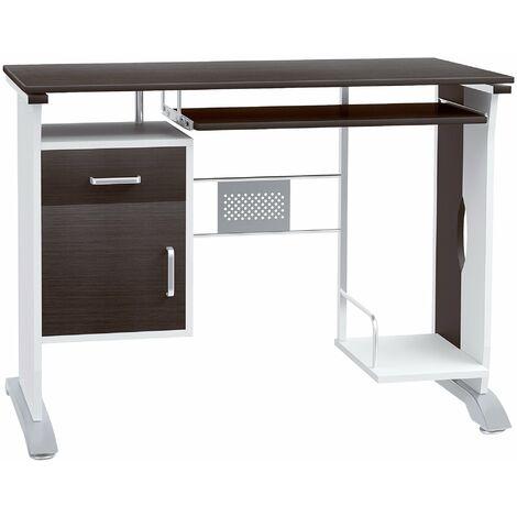 HOMCOM Computer Desk with Sliding Keyboard Tray Storage Drawers and Host Box Shelf Home Office Workstation (Black walnut)
